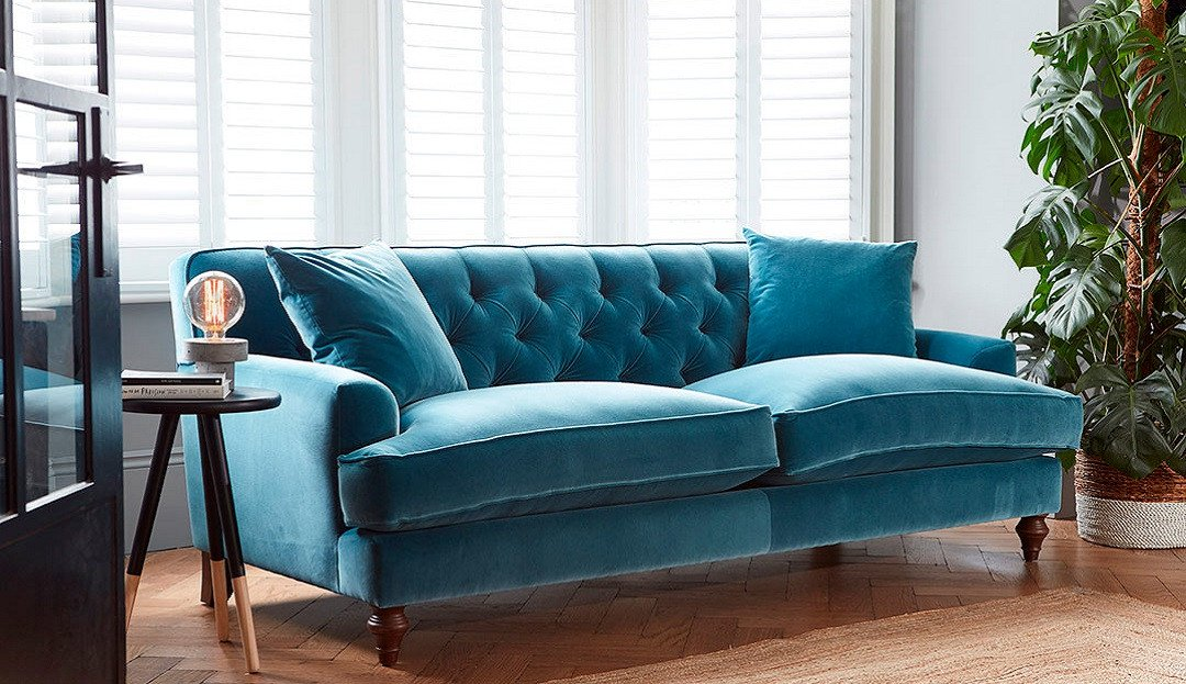 Charnwood sofa from Darlings of Chelsea in teal velvet fabric