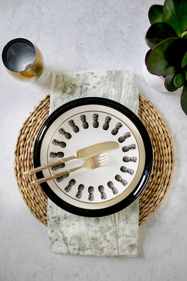table setting mix and match casual black gold green