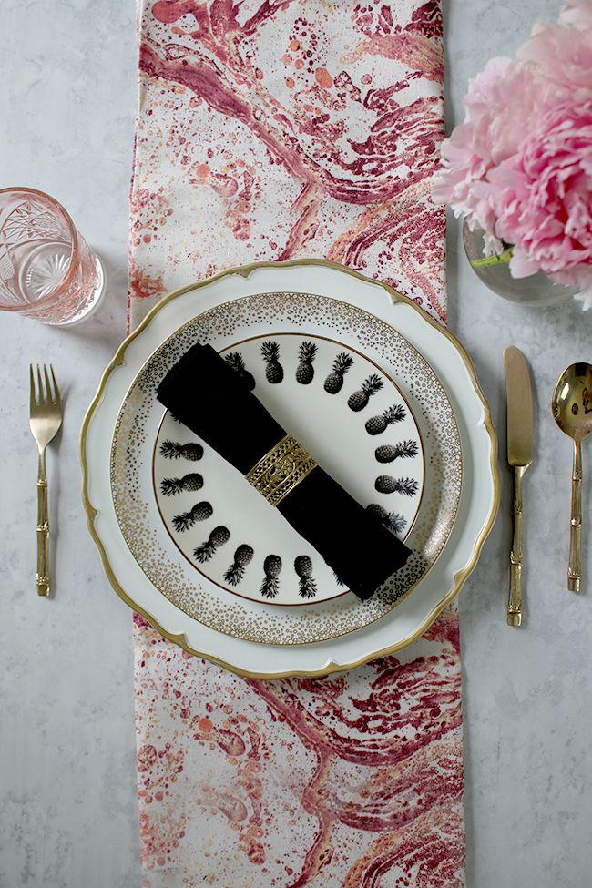 table setting mix and match pink gold and black and white