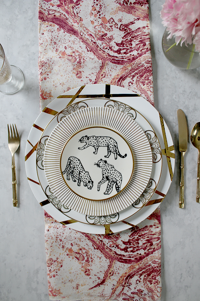 table setting mix and match pink and gold