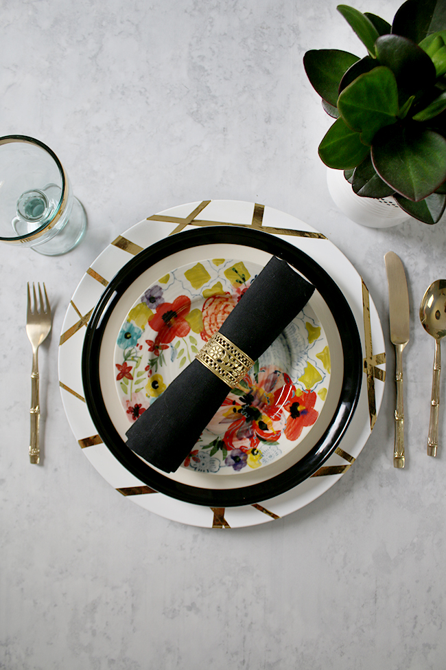 table setting mix and match black white and floral
