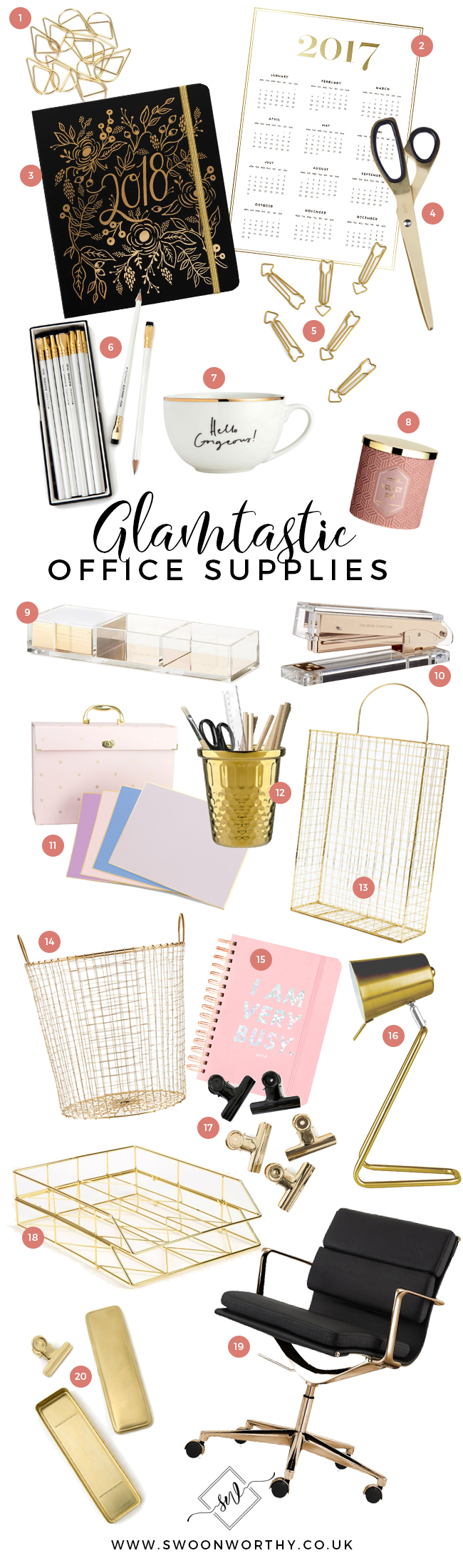 Gold glam office supplies moodboard buying guide edit