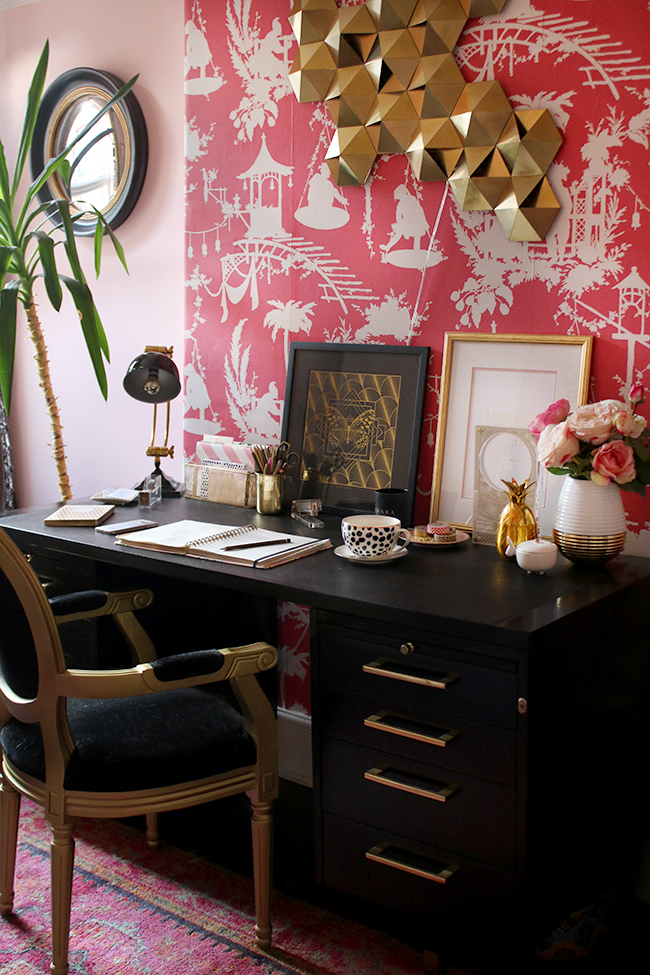 eclectic boho glam office space with pink black and gold