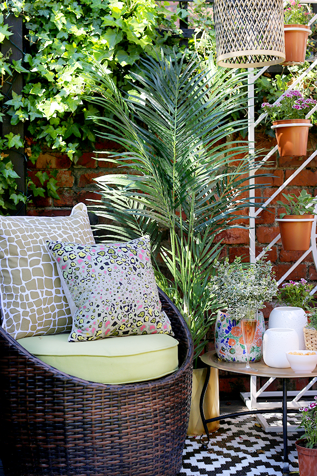 Garden patio design with wicker chair and plant screen