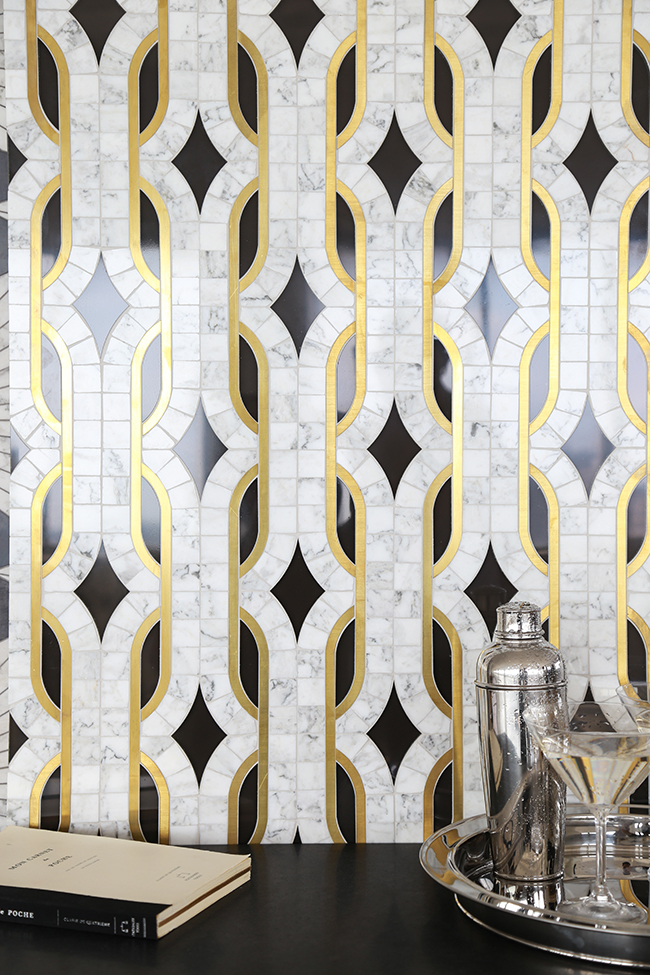 Mosaique Surface Atelier Dundass gold and marble tiles