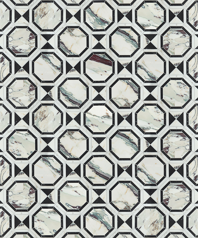Mosaique Surface Dominion black and white marble tiles with brass inlay