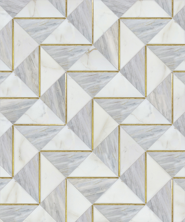 Mosaique Surface Dominion Ludlow blue marble and brass inlay tiles