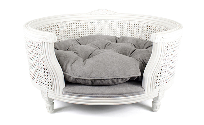white wicker cute pet bed