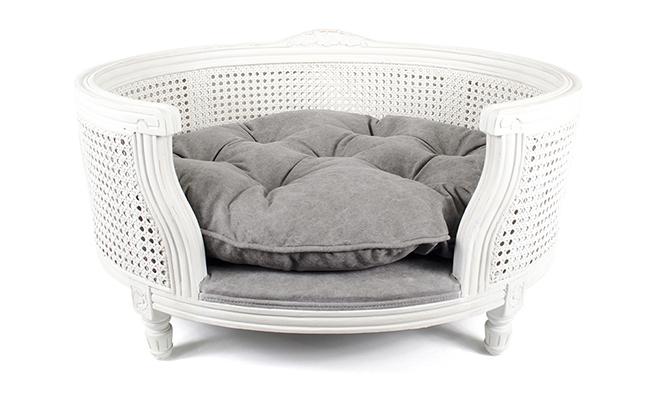 white wicker cute pet bed