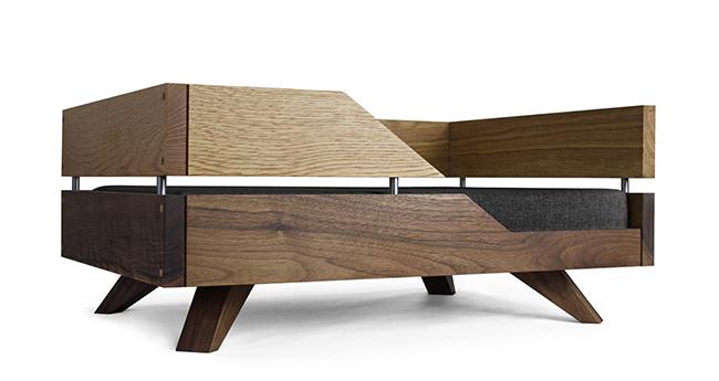luxury oak and walnut dog bed