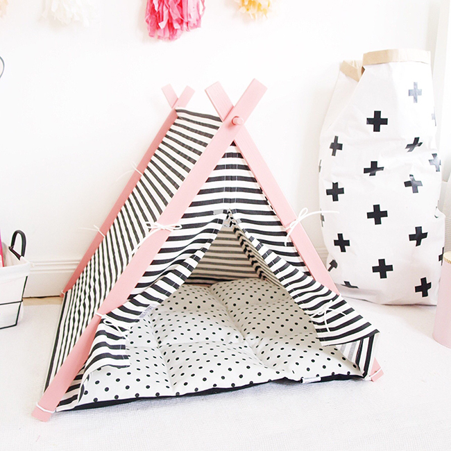pink and stripe teepee dog bed