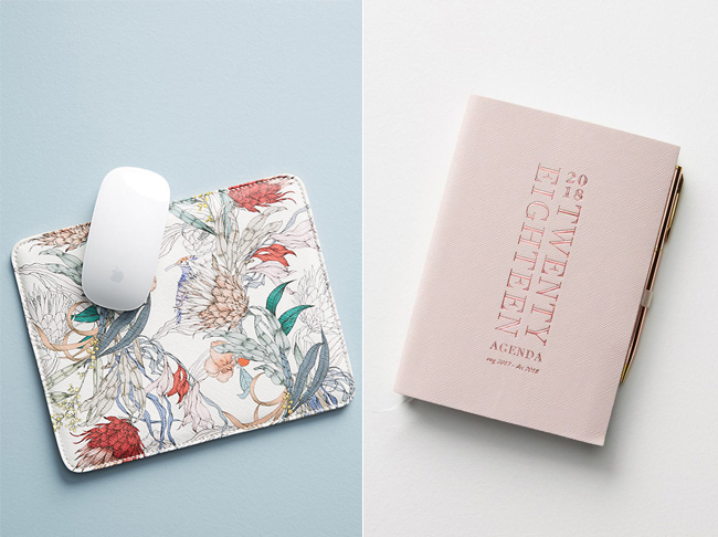 Anthropologie mouse pad and yearly planner