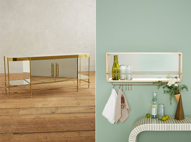 Gold and mirror console and mirrored shelf