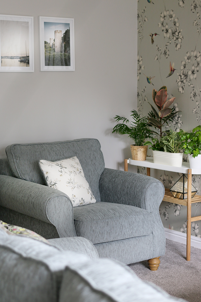 Grey armchairs within my Mother in Law's contemporary romantic living room