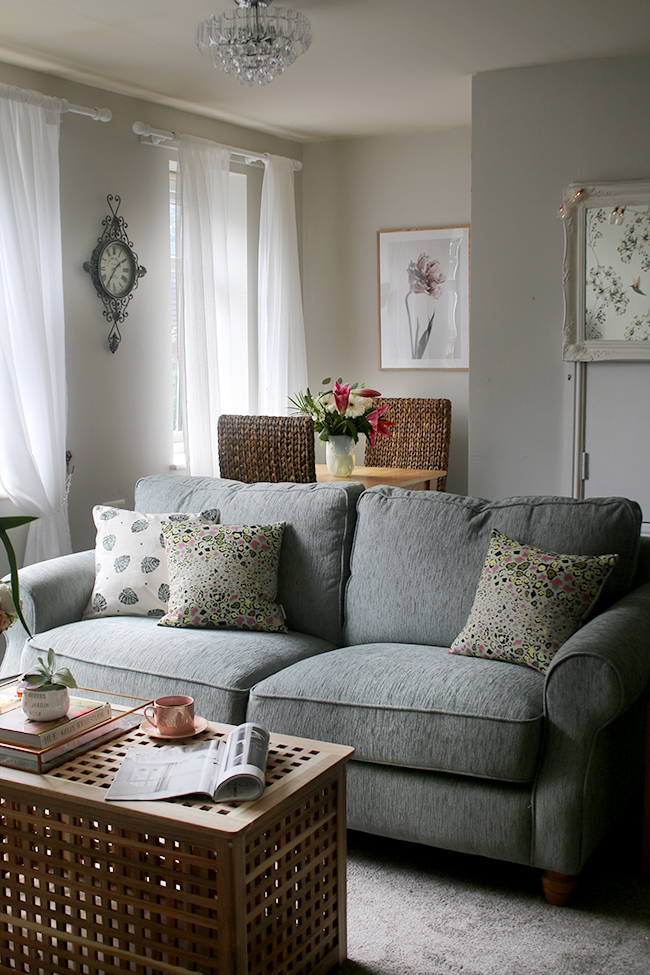 Check out the grand reveal of Majorie's contemporary romantic living room