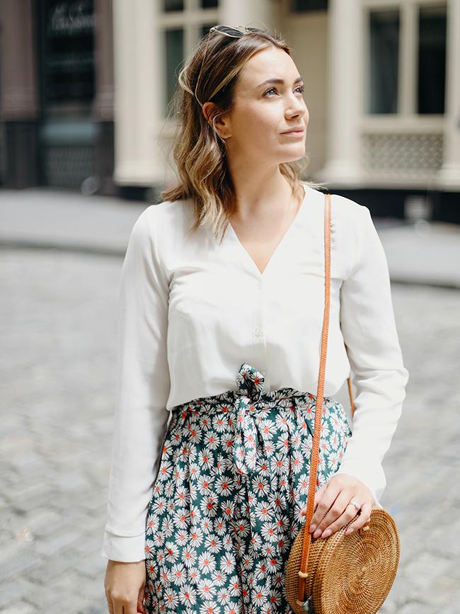Kate La Vie daisy shorts and basket bag