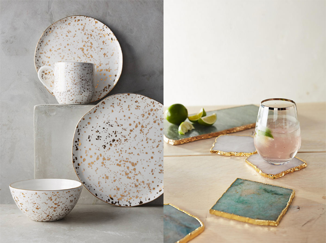 Mimira Dinner Set and Agate Stone collection from Anthropologie