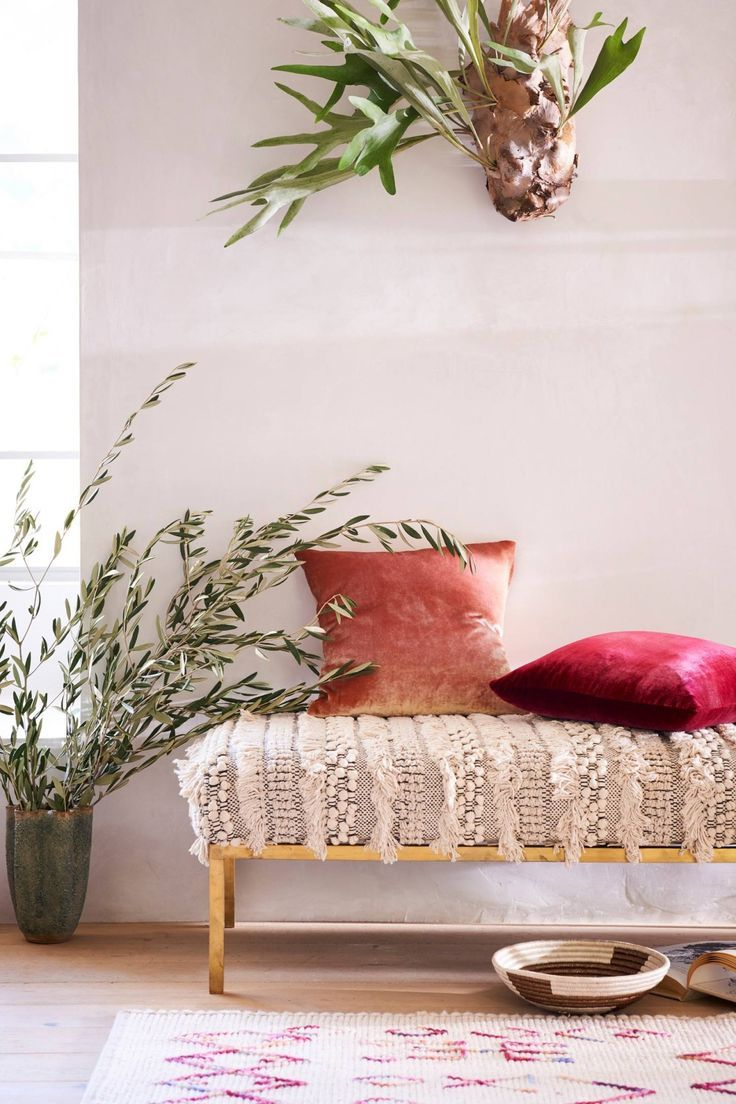 Moroccan wedding blanket bench