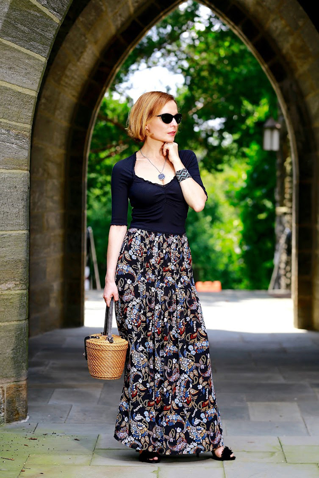 My Fab Forties basket bag and maxi skirt