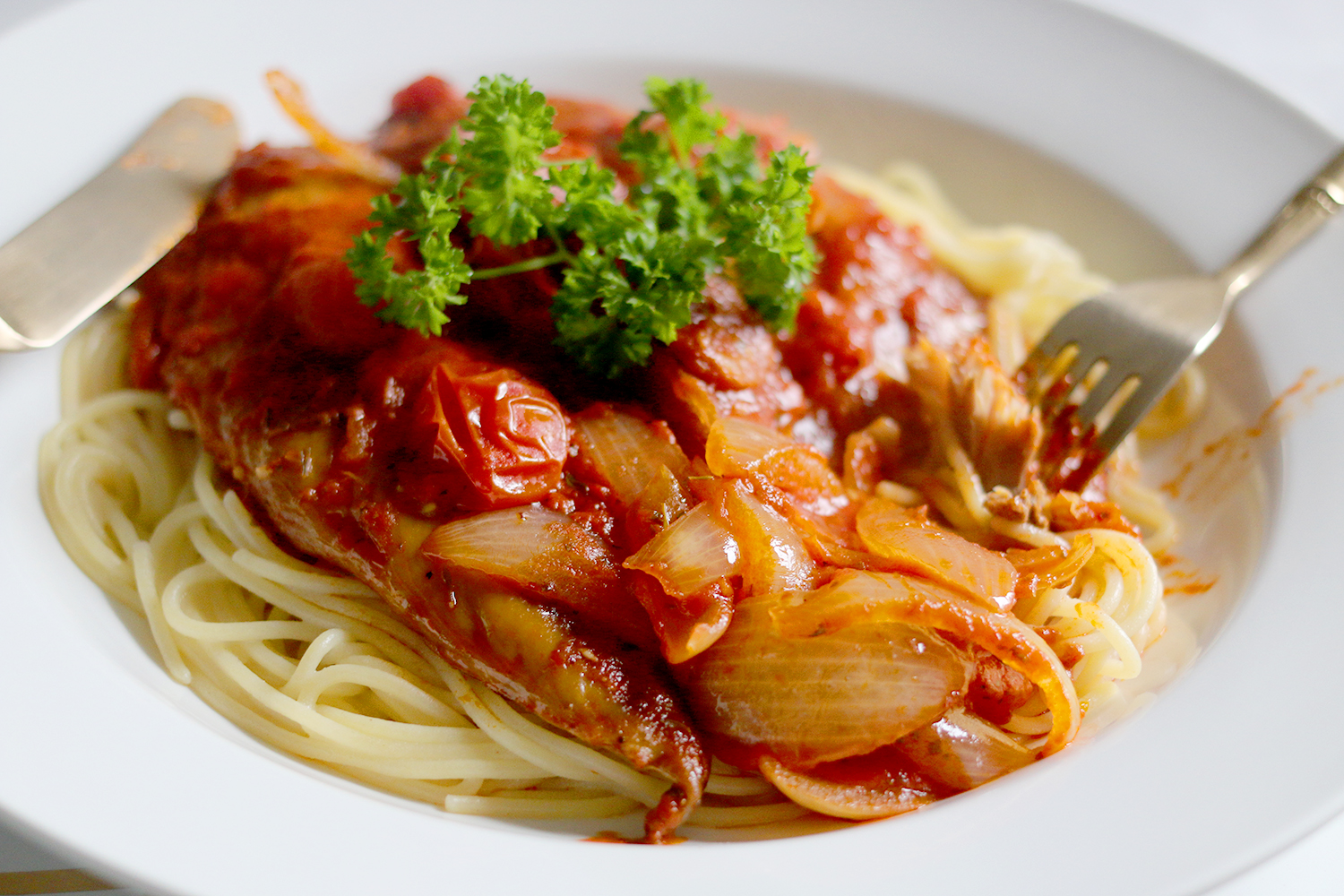 Dig in and give my delcious gluten-free smoked mackerel and chorizo pasta a go!