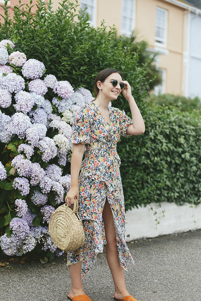 What Olivia Did floral dress basket bag