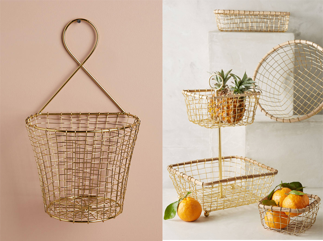 gold wire baskets from Anthropologie