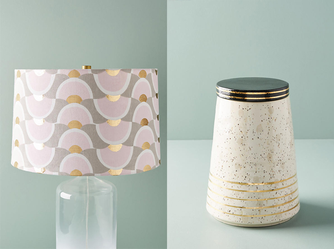 lamp shade and white and gold canister from Anthropologie
