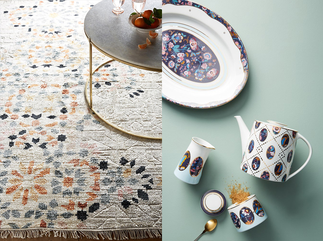 rug and liberty tea set from Anthropologie