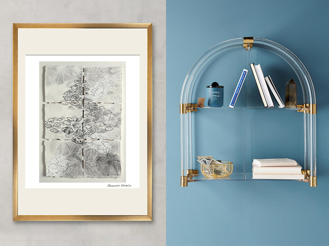 Wall art and Lucite shelf from Anthropologie