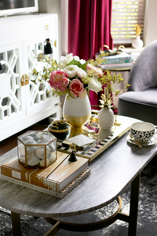 coffee table styling with peonies