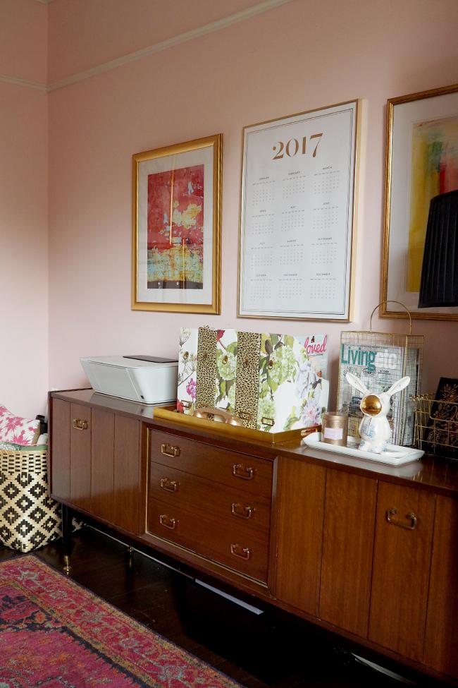 mid century modern sideboard in office
