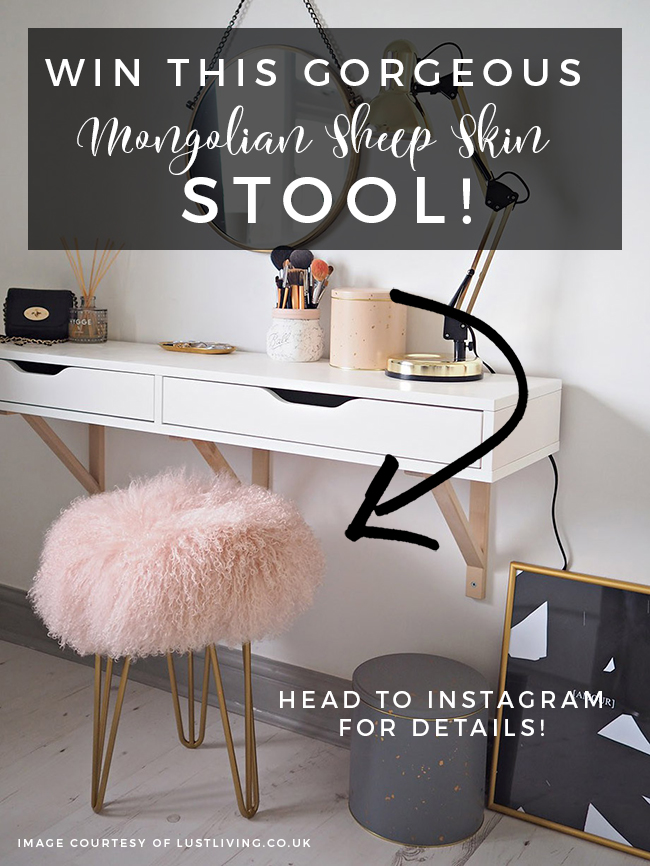 Win a Mongolian Sheep Skin Stool on Swoon Worthy Blog Instagram!