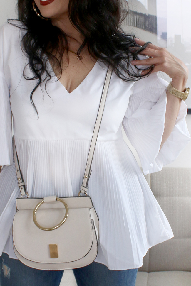 White River Island top with bell sleeves and long peplum and Mango crossbody bag