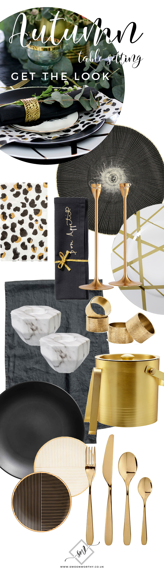 Get the look of my Autumn tablescape with Black White and Gold accessories.