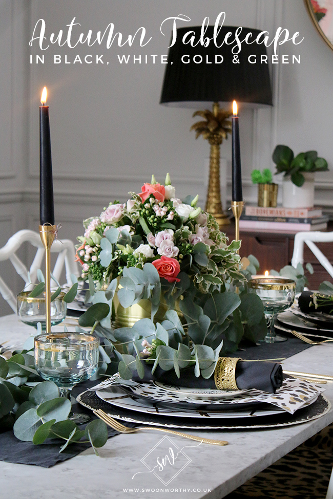 I love any opportunity to create a good table setting! Take a look at my black, white, gold and green Autumn tablescape featuring Venus flowers.