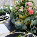 Black White Gold and Green Autumn Tablescape with Venus Flowers