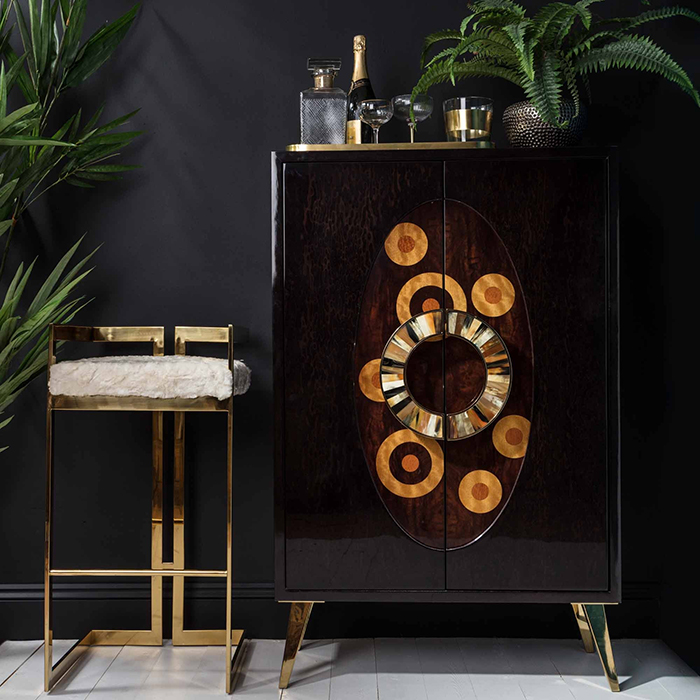 Wood inlay bar cabinet with gold bar stool