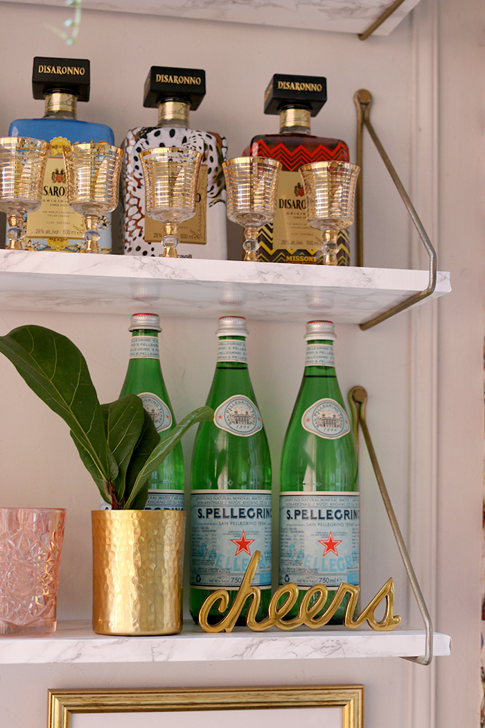 bar shelving styling with disarrano bottles