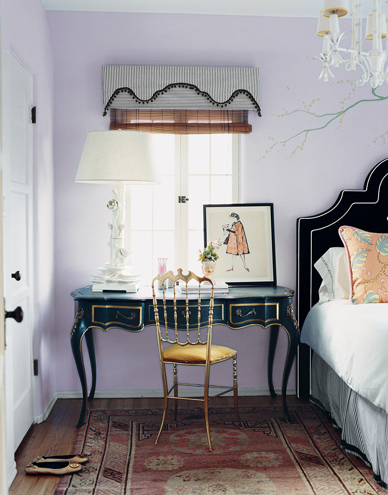 Lilac and black bedroom