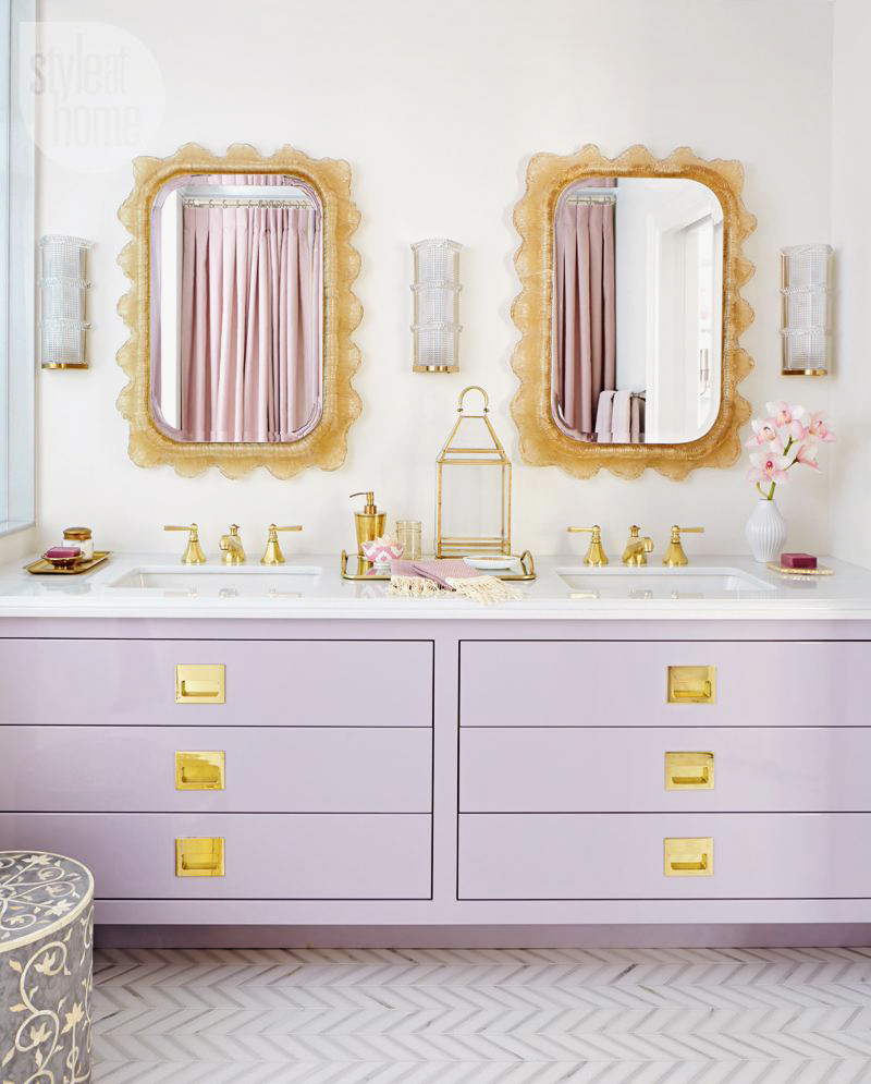 Lilac and gold bathroom
