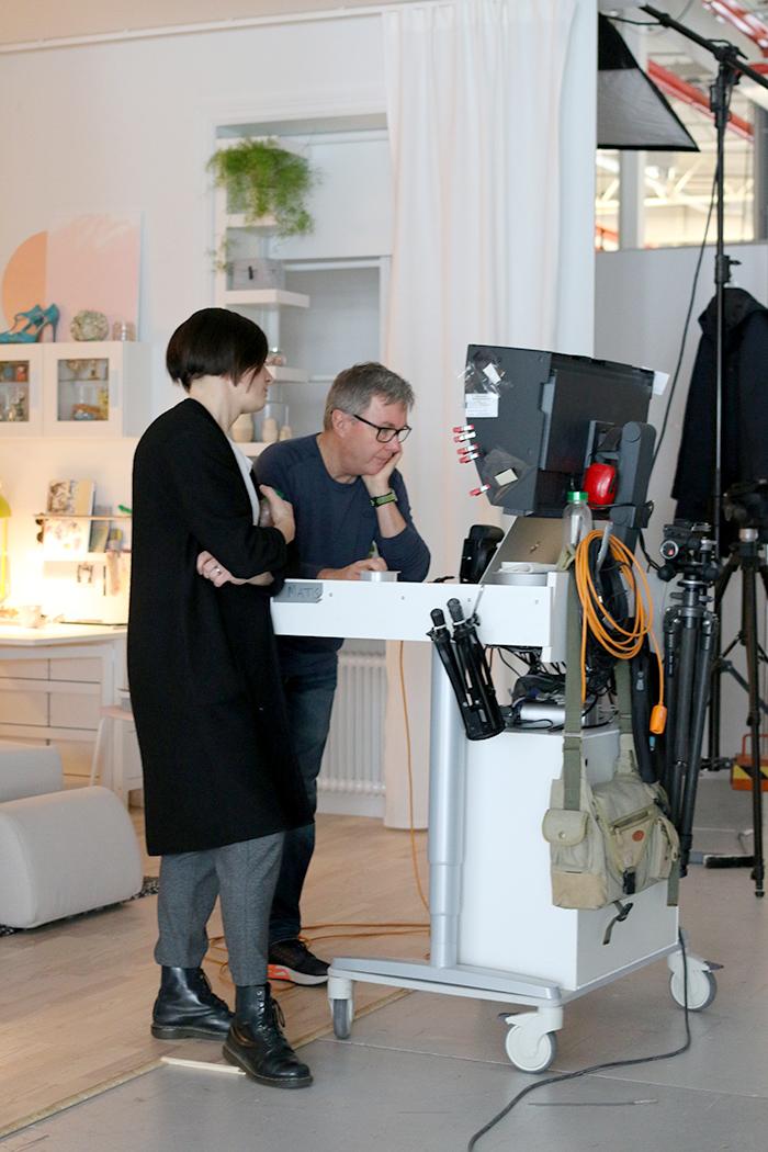 On set at IKEA photoshoot