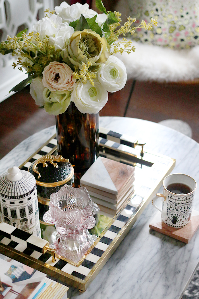 coffee table styling with black and white tray