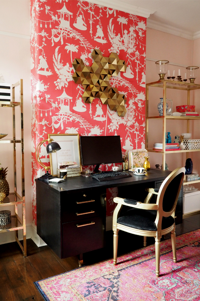 Pink black and gold boho glam office