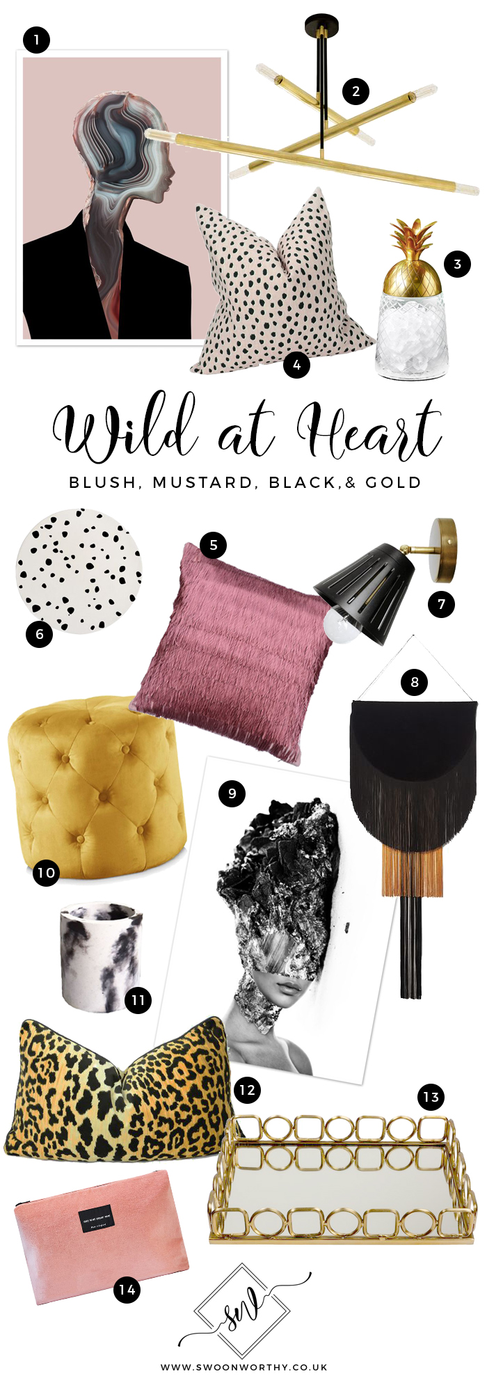 Wild at Heart Blush Black Mustard Gold Edit