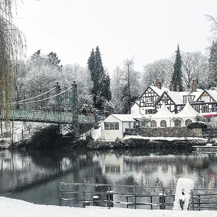 Shrewsbury The Boat House in the snow