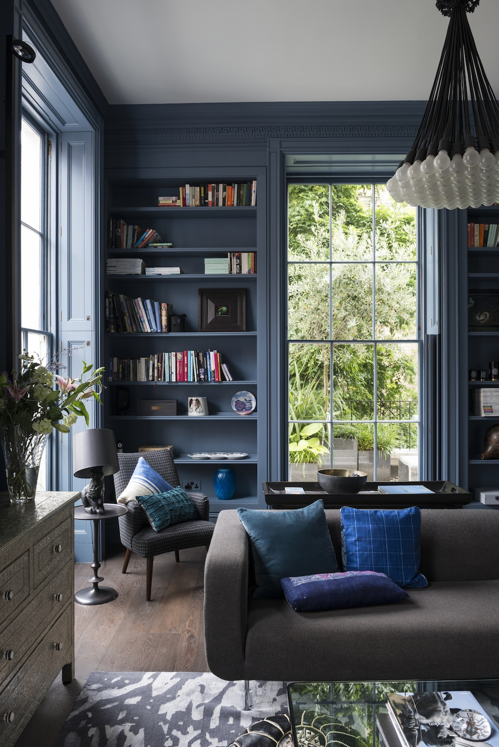 Dark blue home library