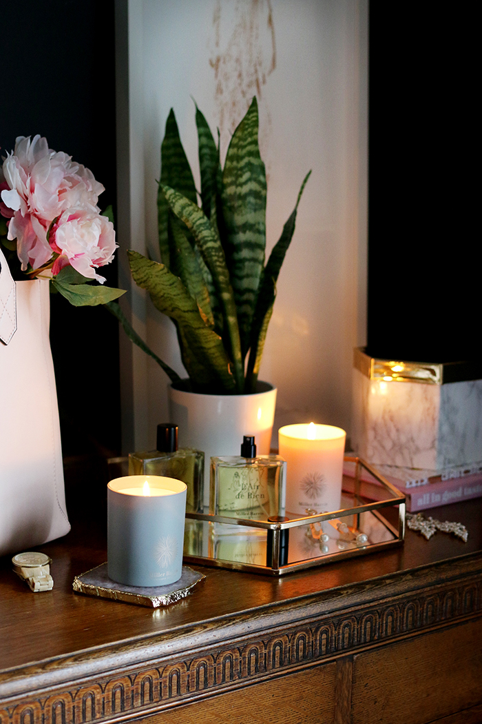 vignette with candles and tray and plants on chest of drawers