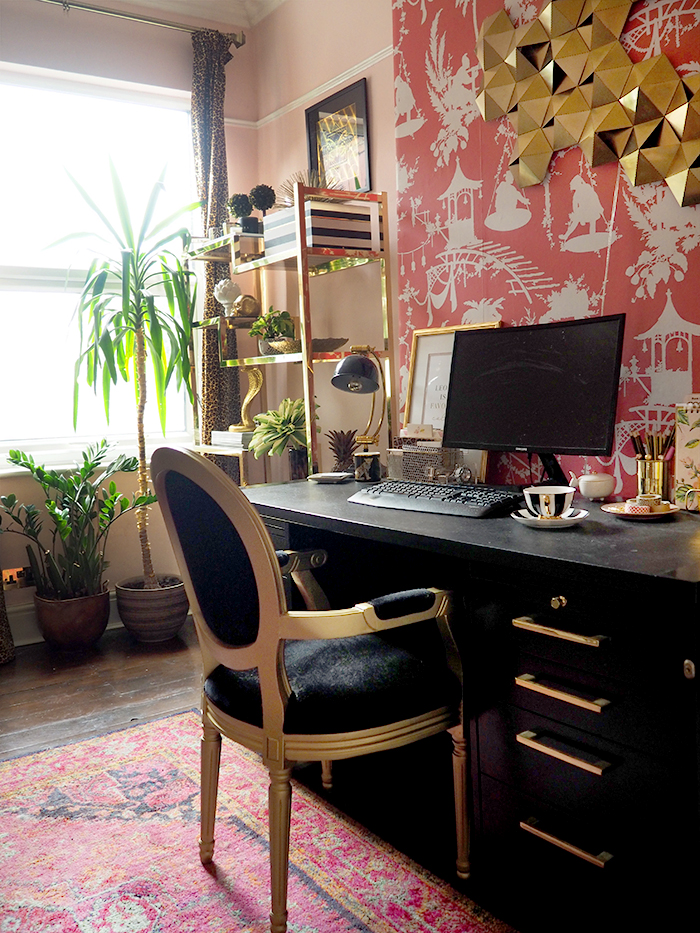 Pink boho glam home office