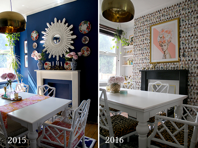 dining room colour before and after