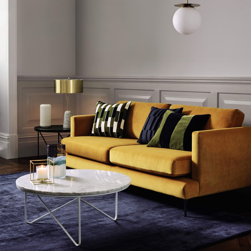 Mustard sofa with gold table lamp from debenhams swoon worthy mustard sofa with gold table lamp from debenhams aloadofball Choice Image